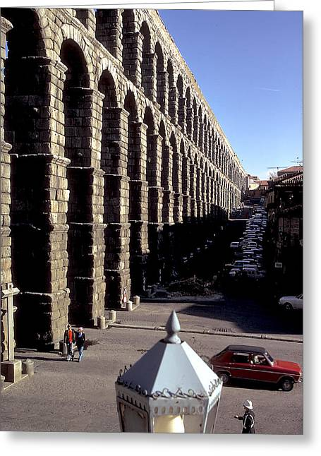Roman Aquaduct In Segovia Greeting Card by Carl Purcell