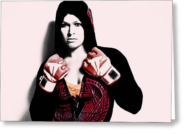 Ronda Rousey Here We Go  Greeting Card by Brian Reaves
