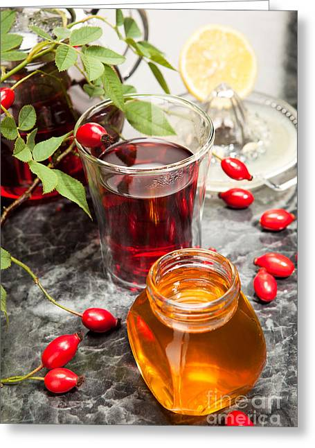 Rosehip Tea With Honey And Lemon In Glass Greeting Card by Wolfgang Steiner