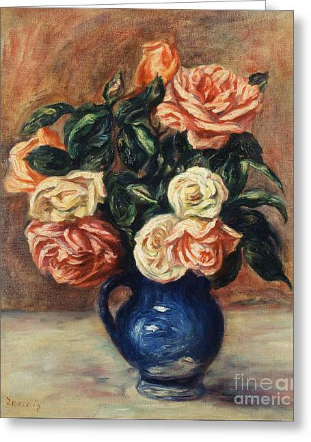 Roses In A Blue Vase Greeting Card