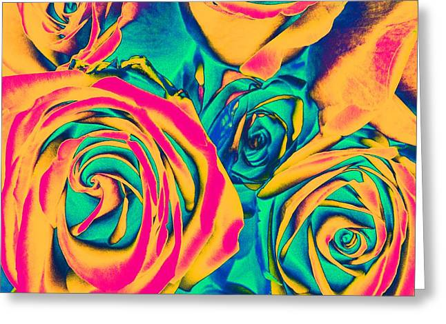 Roses - Pop Art Greeting Card