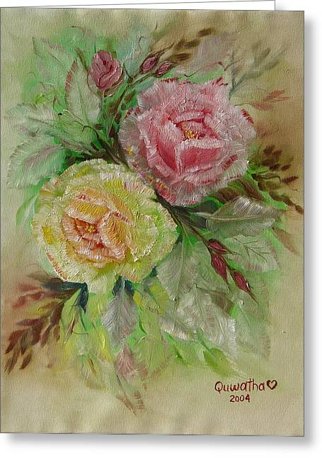 Greeting Card featuring the painting Roses by Quwatha Valentine