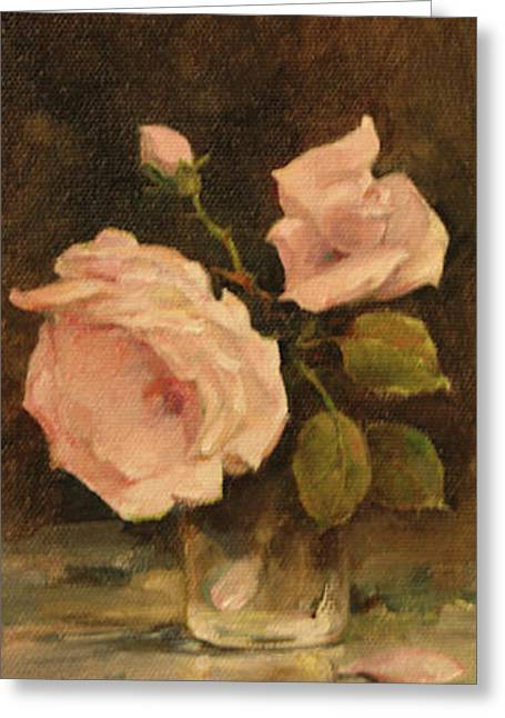 Greeting Card featuring the painting Roses by Tigran Ghulyan