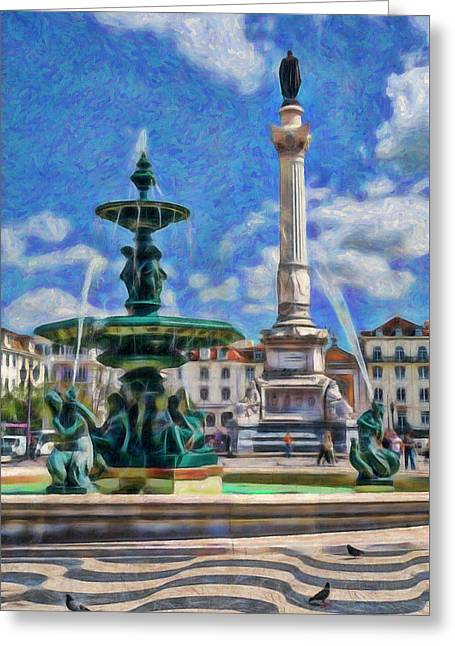 Rossio, Lisbon Greeting Card by Mikehoward Photography