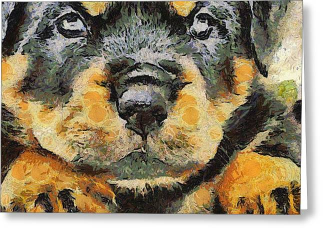 Rottweiler Puppy Portrait Greeting Card by Tracey Harrington-Simpson