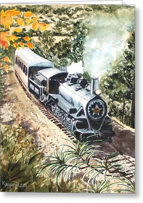 Greeting Card featuring the painting Round The Bend by Karen Ilari