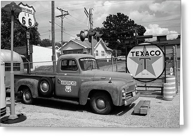 Route 66 - Shea's Gas Station Greeting Card by Frank Romeo