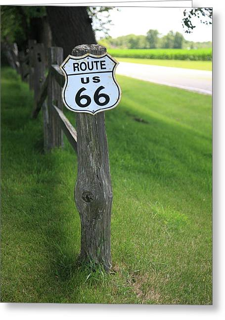 Greeting Card featuring the photograph Route 66 Shield And Fence Post by Frank Romeo