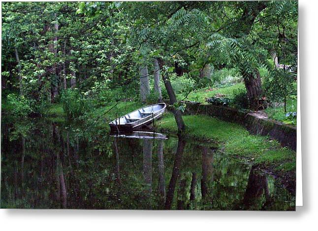 Rowboat In Woods Greeting Card by Michael L Kimble