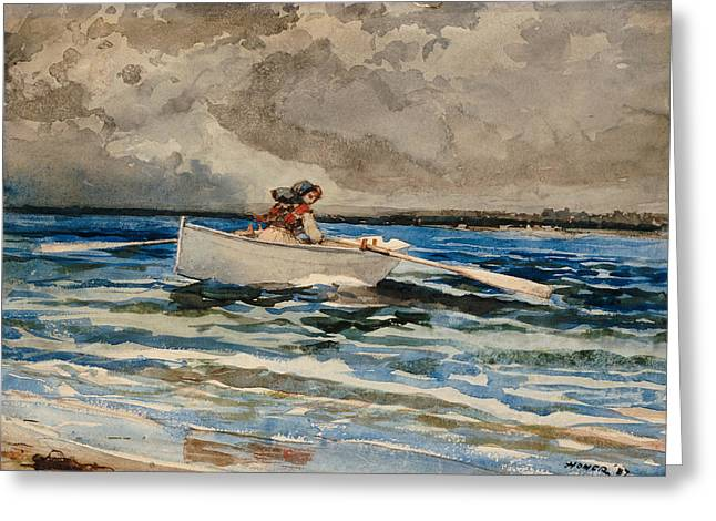 Shallows Greeting Cards - Rowing at Prouts Neck Greeting Card by Winslow Homer