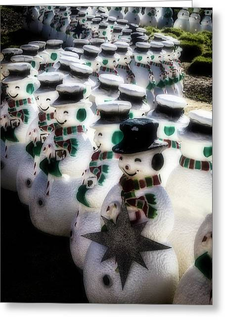 Rows Of Snowmen Greeting Card by Garry Gay