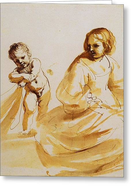 Royal Guercino Woman Greeting Card by MotionAge Designs