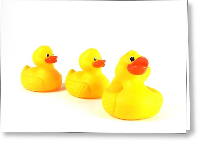Orange Beak Greeting Cards - Rubber Ducks Greeting Card by Photo Researchers, Inc.