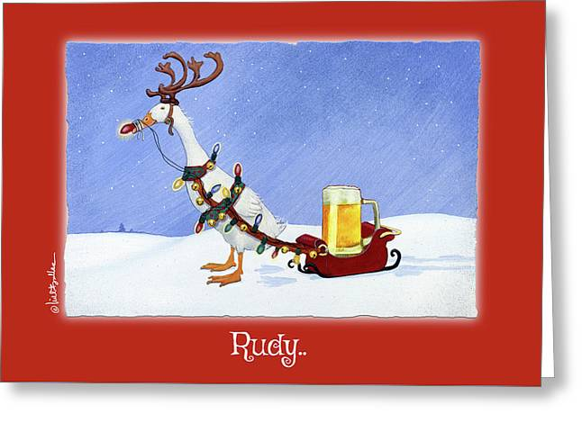Greeting Card featuring the painting Rudy... by Will Bullas