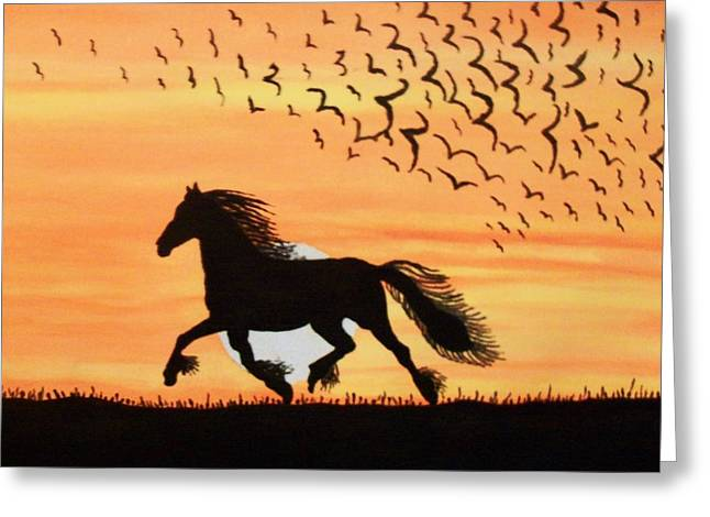 Running In The Wind Greeting Card by Connie Valasco