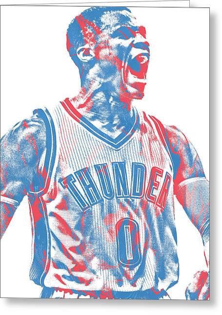 Russell Westbrook Oklahoma City Thunder Pixel Art 31 Greeting Card