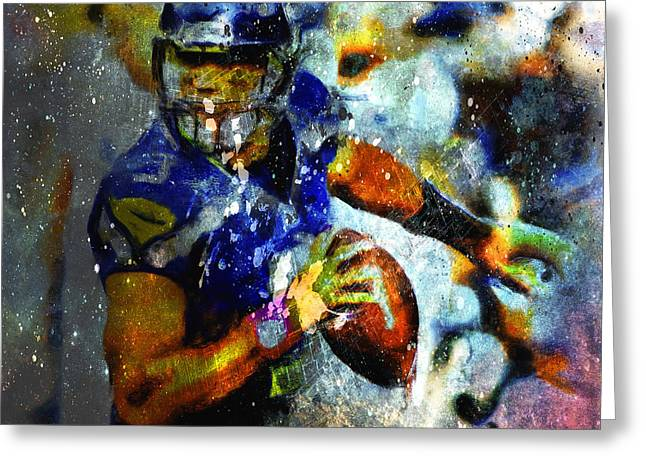 Russell Wilson On The Move Greeting Card by Brian Reaves