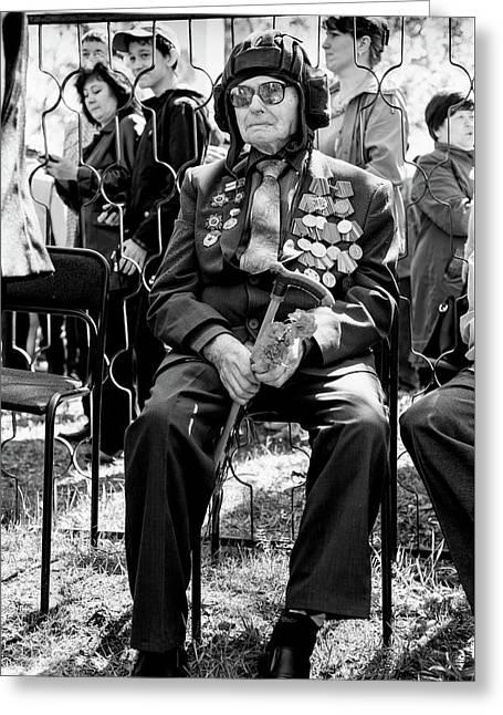 Greeting Card featuring the photograph Russian World War II Veteran Tank Commander by John Williams