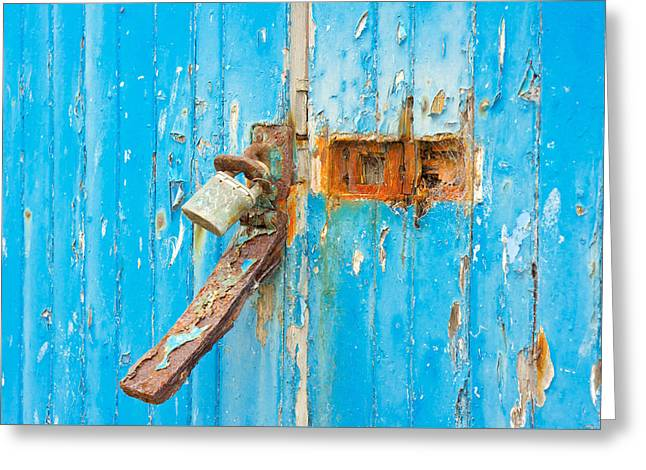 Rusty Lock Greeting Card by Tom Gowanlock