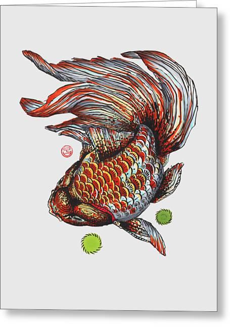 Ryukin Goldfish Greeting Card by Shih Chang Yang