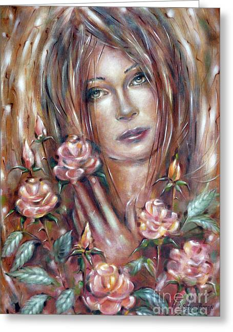 Sad Venus In A Rose Garden 060609 Greeting Card by Selena Boron