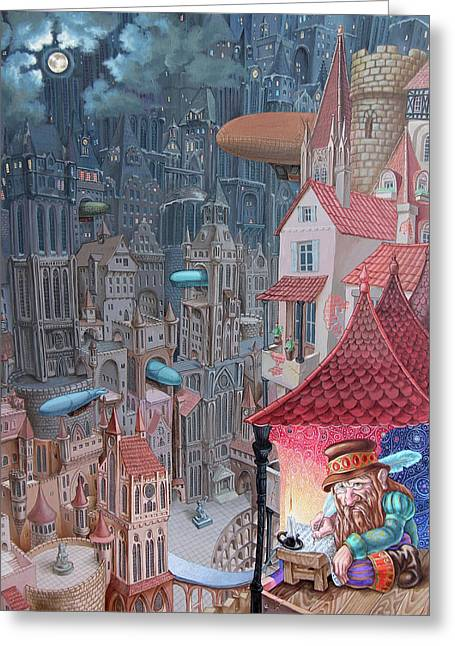 Saga Of The City Of Zeppelins Greeting Card