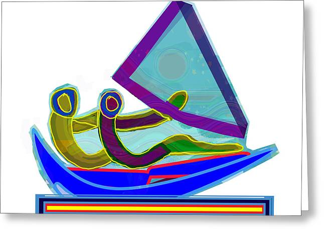 Sail Boat Couple Graphic Ditigal Abstract Painting Greeting Card by Navin Joshi
