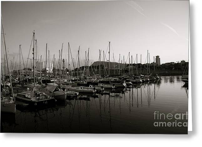 Sailing Boats Barcelona Greeting Card by Louise Fahy