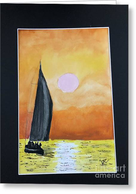 Greeting Card featuring the painting Sailing by Donald Paczynski