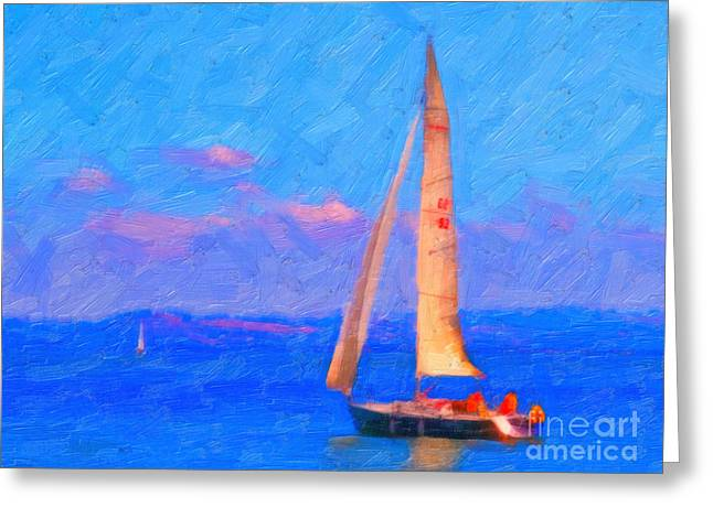Sailing In The San Francisco Bay Greeting Card by Wingsdomain Art and Photography