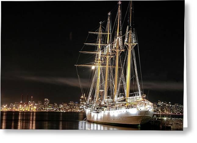 Sailing Ship At The Pier Greeting Card by Alex Lyubar