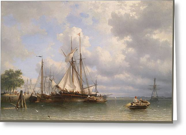 Sailing Ships In The Harbor Greeting Card by Anthonie Waldorp