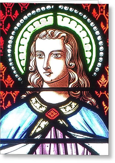 Greeting Card featuring the digital art Saint Anne's Windows by Jim Proctor
