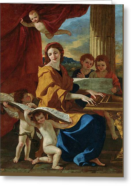 Saint Cecilia Greeting Card by Nicolas Poussin