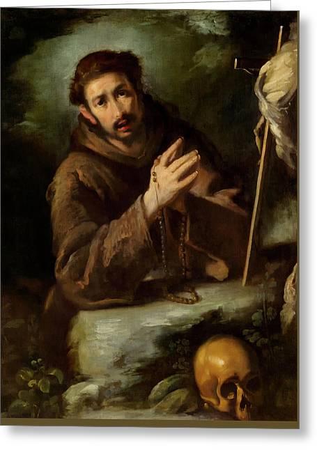 Saint Francis In Prayer Greeting Card by Bernardo Strozzi