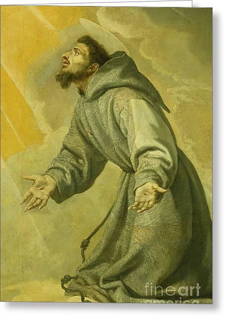 Saint Francis Receiving The Stigmata Greeting Card by Vicente Carducho