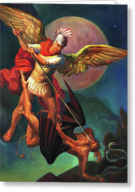 Saint Michael The Warrior Archangel Greeting Card