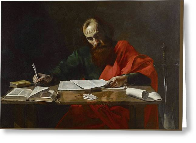 Saint Paul Writing His Epistles Greeting Card by Valentin de Boulogne