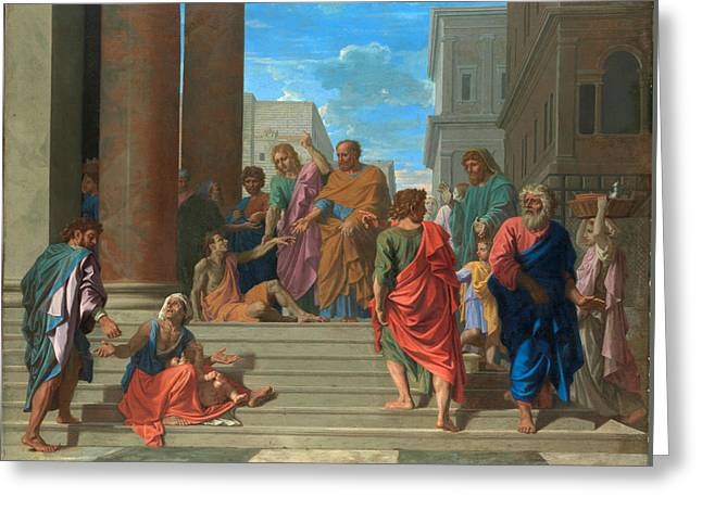 Saints Peter And John Healing The Lame Man Greeting Card by Nicolas Poussin