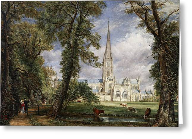 Salisbury Cathedral From The Bishop's Garden Greeting Card