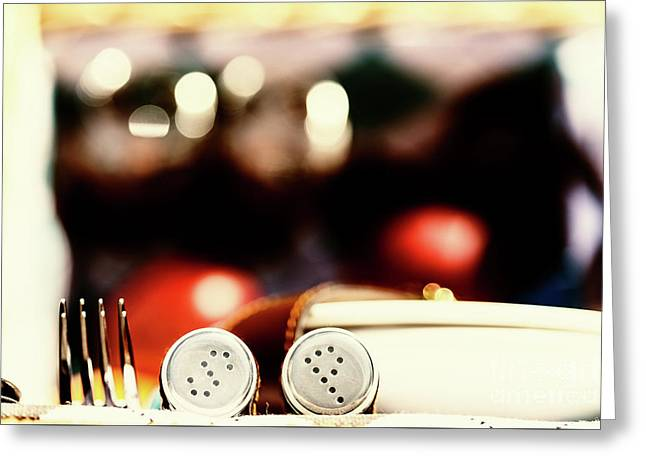 Salt And Pepper With Cutlery In Picnic Basket Greeting Card by Radu Bercan