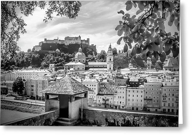 Salzburg Gorgeous Old Town With Citywall - Monochrome Greeting Card