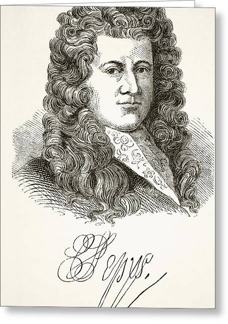 Samuel Pepys 1633 To 1703 English Greeting Card by Vintage Design Pics