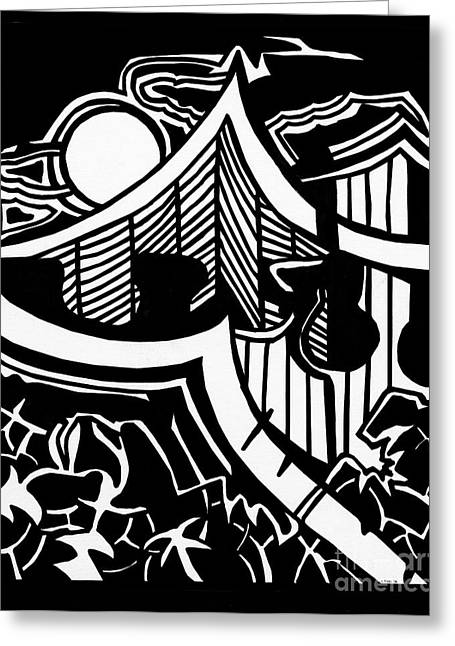 Samurai House Greeting Card by Charles Pulley