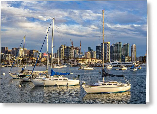 San Diego Harbor Greeting Card by Peter Tellone