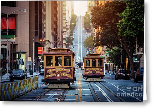 San Francisco Cable Cars Greeting Card by JR Photography