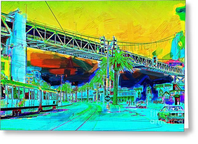 San Francisco Embarcadero And The Bay Bridge Greeting Card by Wingsdomain Art and Photography