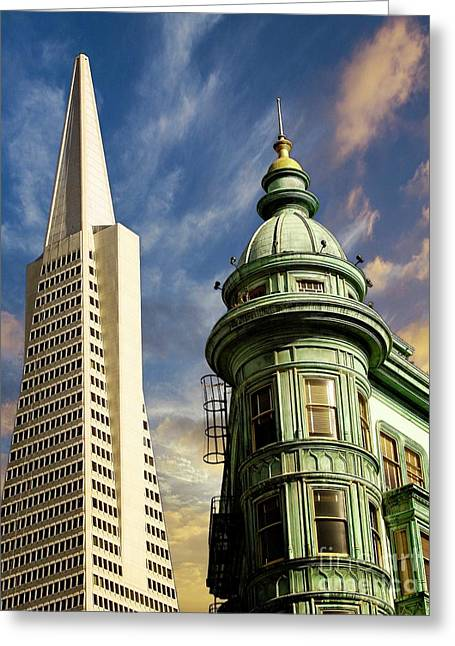 San Francisco Then And Now Greeting Card