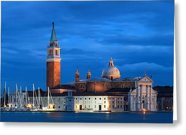 Greeting Card featuring the photograph San Giorgio Maggiore Church Night by Songquan Deng