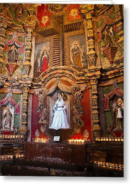San Xavier Side Altar Greeting Card by Jon Berghoff